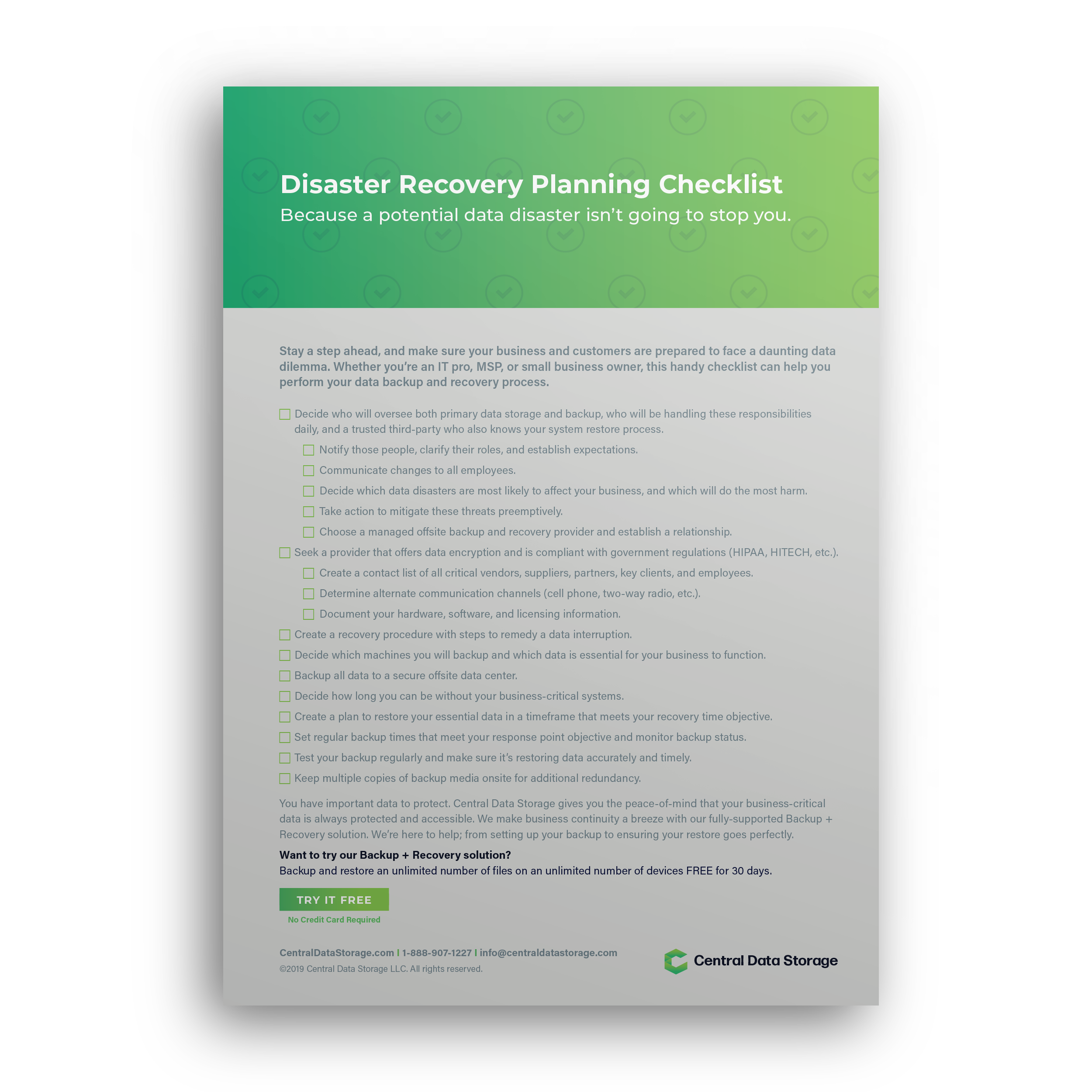Disaster Recovery Planning Checklist